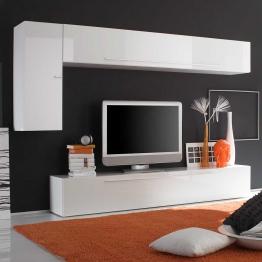 Wohnzimmer Wohnwand in Hochglanz Weiß modern (3-teilig)